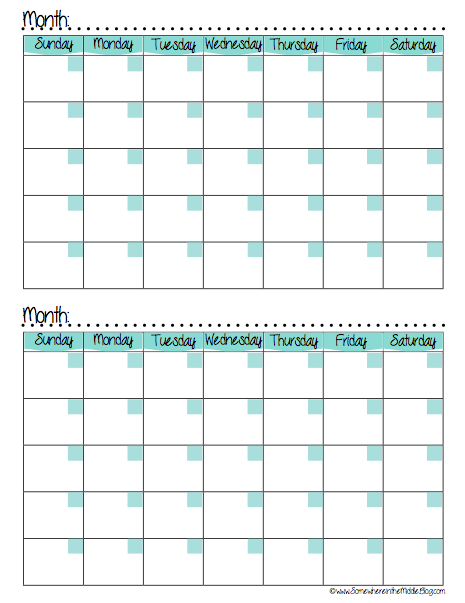 Meal planning calendar free printable somewhere in the for Double month calendar template